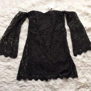 NWT Nasty Gal Black Off Shoulder Lace Dress Sz: 6